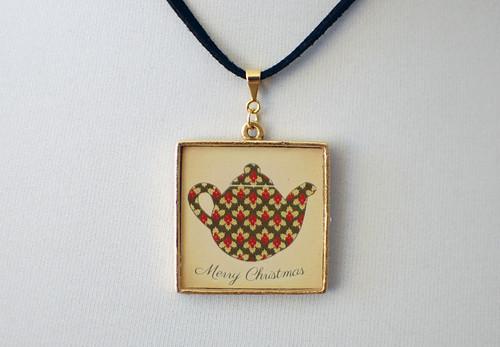Christmas Teapot Pendant