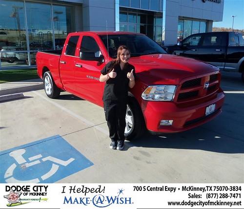 Congratulations to KIMBERLY C BRANUM on the 2012 Ram 1500 Truck by Dodge City McKinney Texas