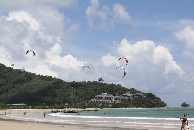 Tsunami in Thailand Kitesurfers at Nai Yang Beach, Thailand