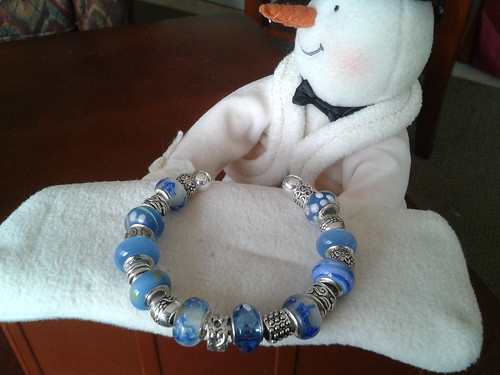 cuff bracelet with blue and silver beads