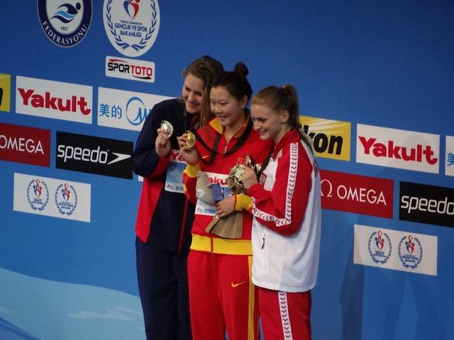 The Istanbul 2012 women's 50 back medal podium