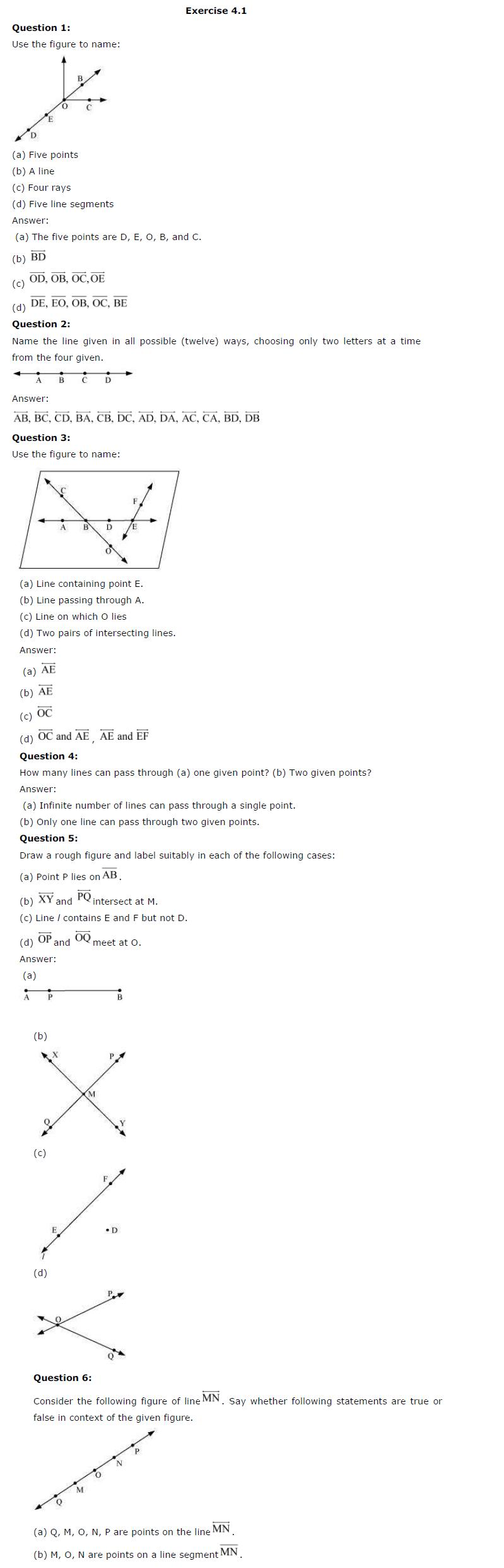 NCERT Solutions For Class 6th Maths Chapter 4 Basic Geometrical Ideas PDF Download Free 2018-19