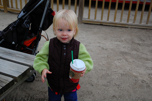 Mollified by hot chocolate.