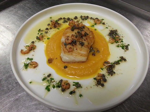 NORTH SEA COD, BUTTERNUT PUREE, SHRIMP CAPER BUTTER