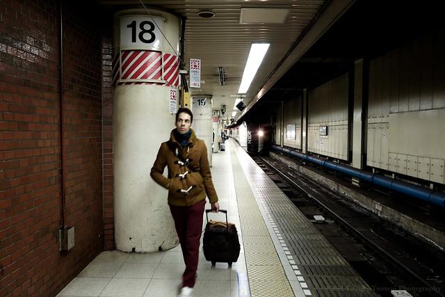 Traveller on NEX platform, Tokyo Station