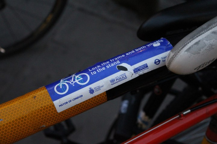 Bike locking notice in London by police