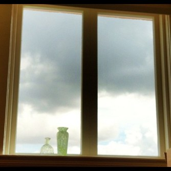Office window.  Cloudy day.