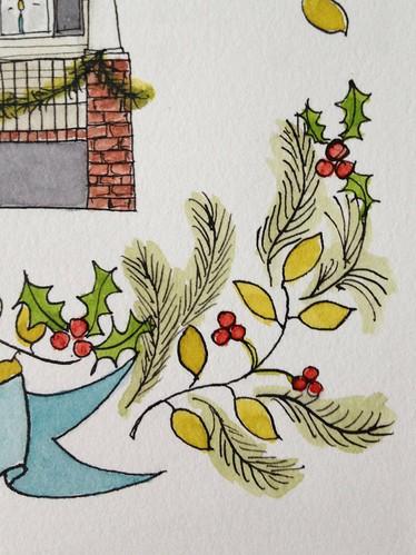 Marissa-Huber-Illustration-House-Portrait-Holiday-Garland