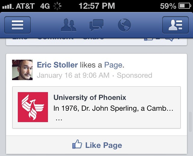 University of Phoenix and Facebook Advertisements