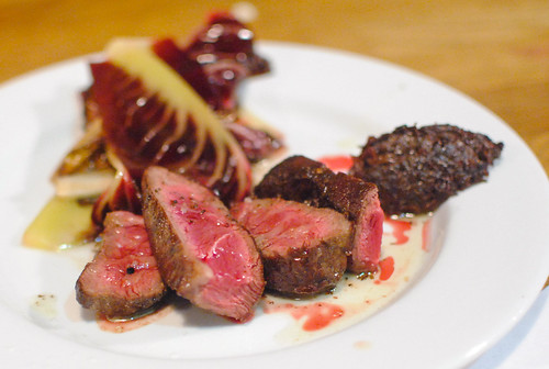 Flat Iron Steak, Treviso, Smoked Anchovy Cream, Pepper Oil