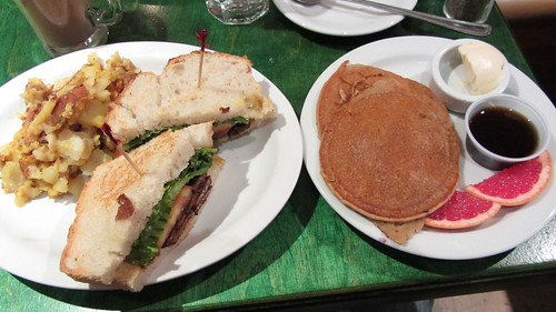 tempeh blt with pancakes at herbivore
