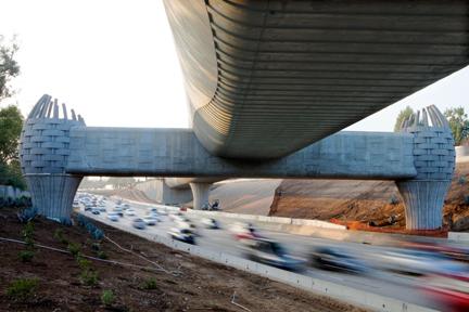 Route 66-inspired rail bridge over Arcadia freeway is