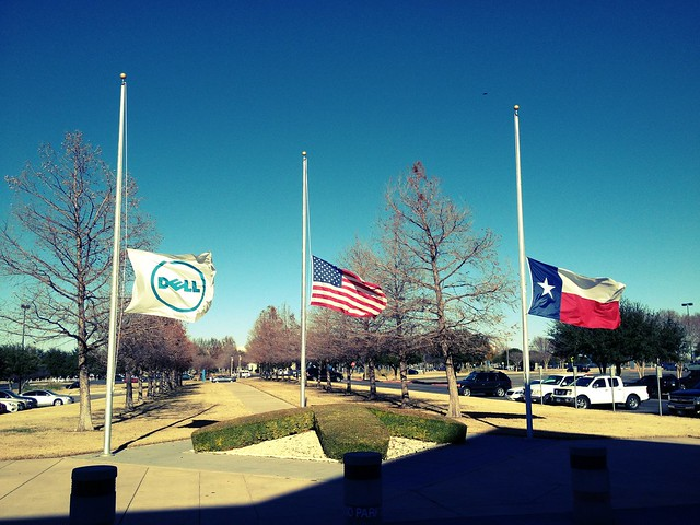Flags on the Dell Inc. campus at half mast for victims at Sandy Hook School