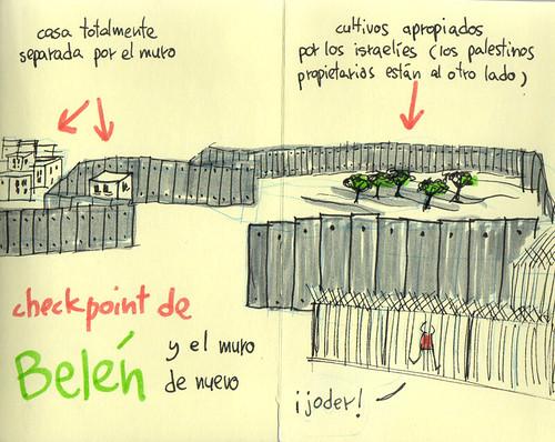 Bethlehem checkpoint. Cuaderno de viaje ilustrado. Travel Sketchbook Palestine