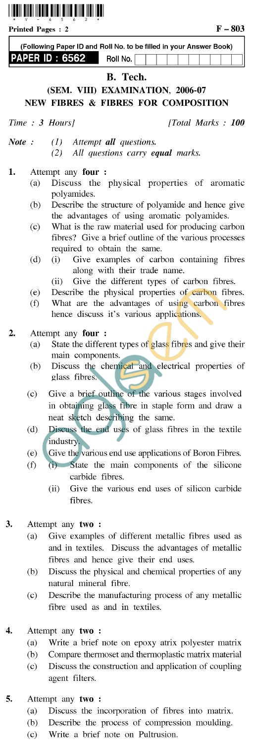 UPTU B.Tech Question Papers - F-803 - New Fibres & Fibres For Composition