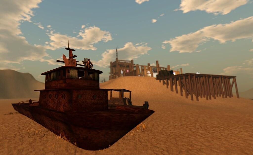 A rusty abandoned boat at Dryland
