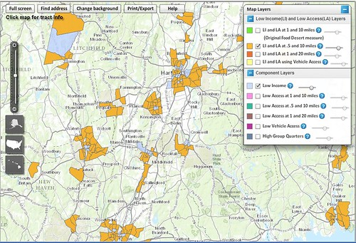 Users of ERS's Food Access Research Atlas can opt to view low-income census tracts (shaded in gold and in light blue) in a selected area of the country. The gold-shading indicates low-income tracts where a substantial number or portion of residents live at least 0.5 mile from a supermarket in urban areas or at least 10 miles in rural areas. (Central Connecticut)