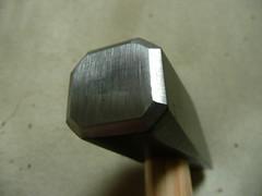 Scythe hammer with grinding marks