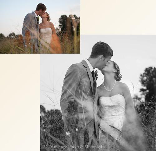 Marido y novia besándose en el campo.