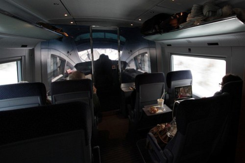 Cab view from the front saloon of a DB ICE 3 train