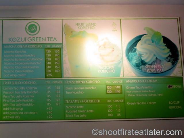 Kozui Green Tea menu-005