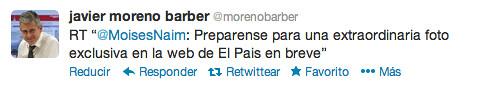 Twitter del director de El País anunciando la foto en exclusiva
