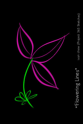 """""""Flowering Lines"""" (#21: Project 365 Sketches)"""