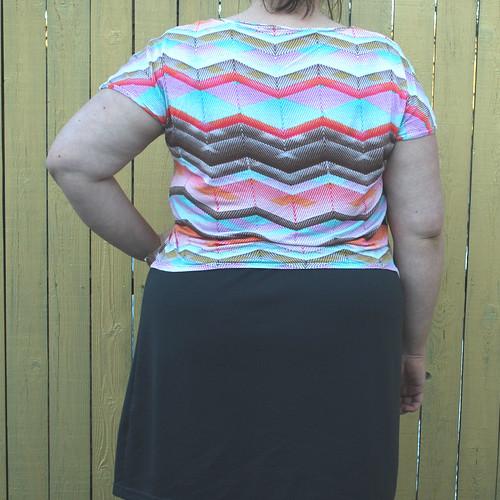 Chevron shirt gray skirt back