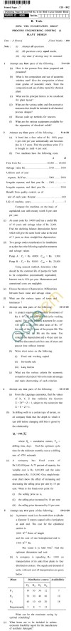 UPTU B.Tech Question Papers - CH-802 - Process Engineering Costing & Plant Design