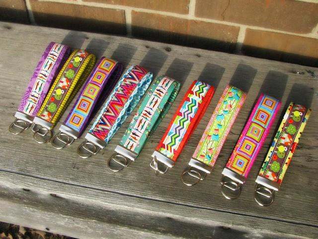Ribbon Key Fobs in a Row