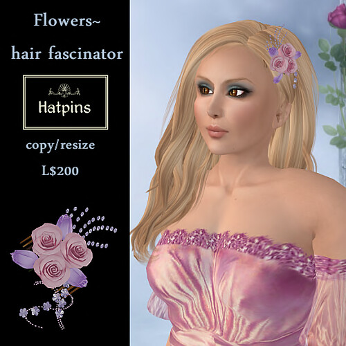 Hatpins - Flowers Hair Fascinator - Purple and Pink (copy_mod)