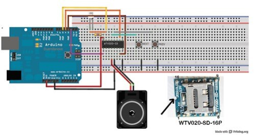 Example 1- Using WTV020SD-16P music module with Arduino