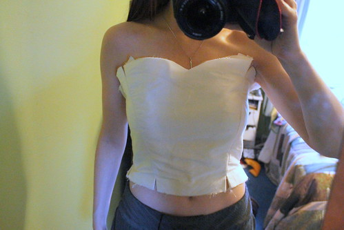 Bodice front, in progress
