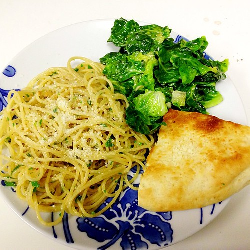 Pasta Mezzanotte, Sauteed Brussels Sprouts Greens, and Focaccia