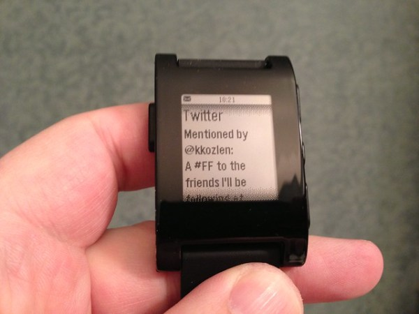 Twitter mentions on the Pebble