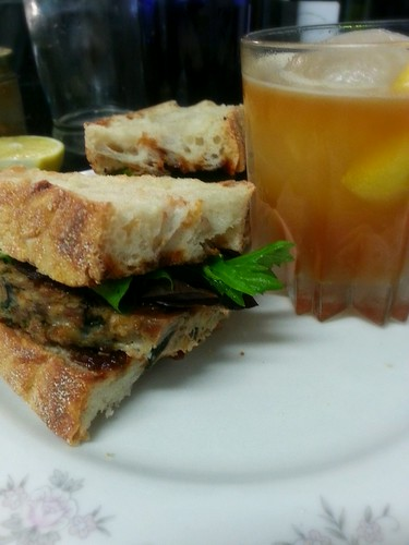 bbq meatloaf sandwich with arnold palmer with black tea infused vodka and lemon marmalade by pipsyq