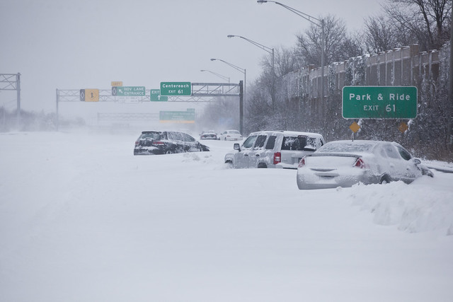 Vehicles abandoned along the Long Island Expressway during major northeast winter storm