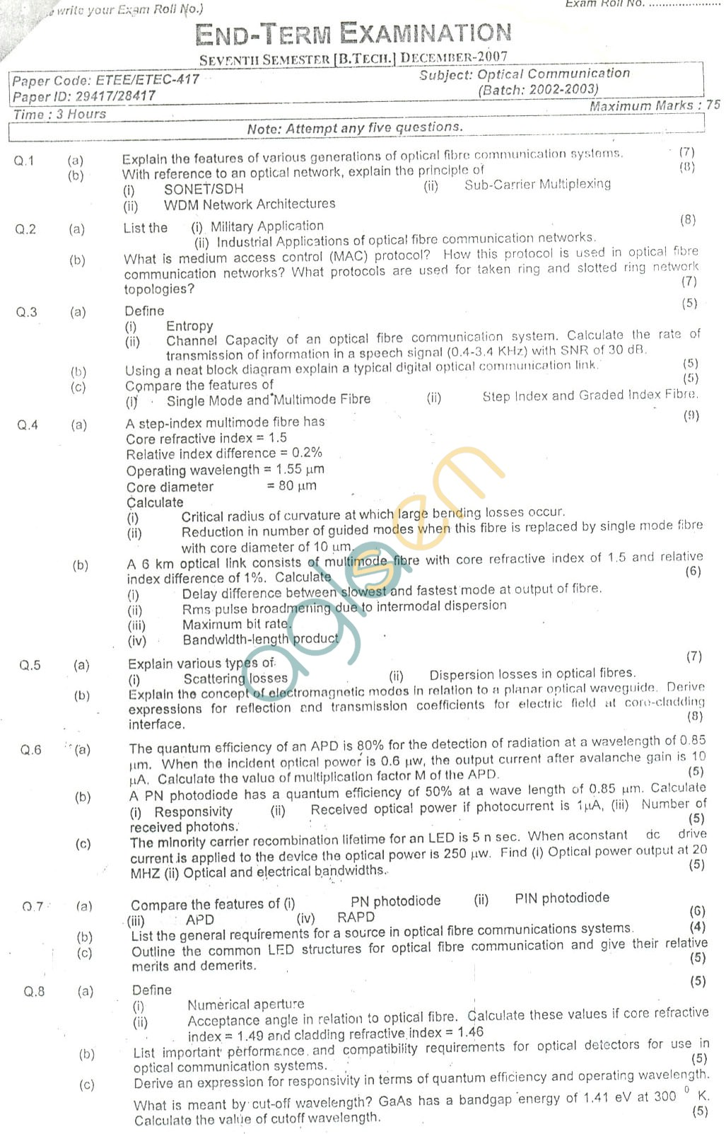 GGSIPU Question Papers Seventh Semester – End Term 2007 – ETEE-417
