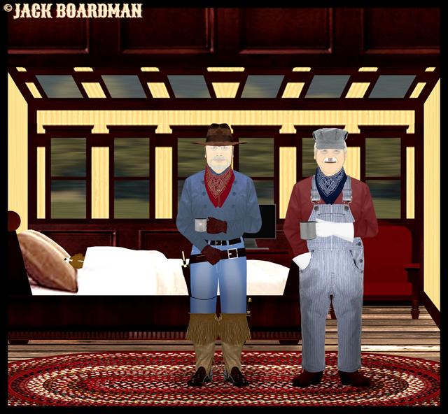 Daisy, Larry & Boomer in Boomer's cabin