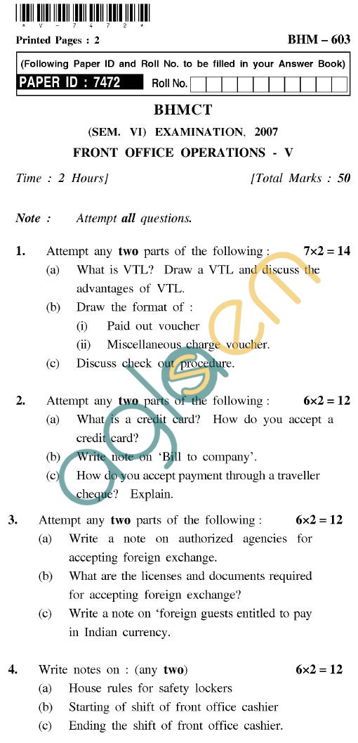 UPTU BHMCT Question Papers -BHM-603-Front Office Operations-V