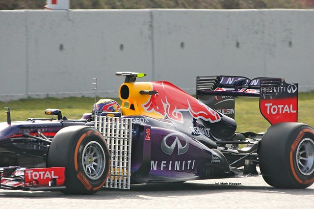 Mark Webber's car with testing equipment at Formula One Winter Testing 2013