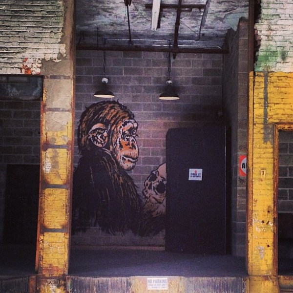 The Thinker  #igny #oldschool #igdaily #igaddict #instafan #instagood #instagramhub #instagrammer #iphone #street #streetart #art #graffiti #williamsburg #monkey #skull #surprise #dock #photography #picoftheday #photooftheday  #2013