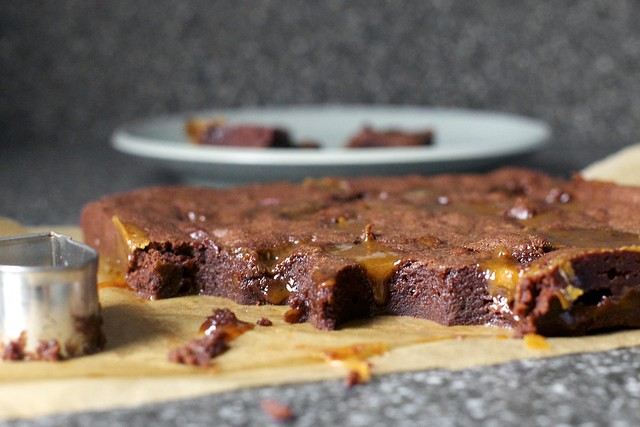 drippy salted caramel brownies