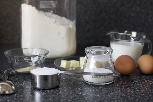 yeast, flour, butter, milk, eggs, salt, go