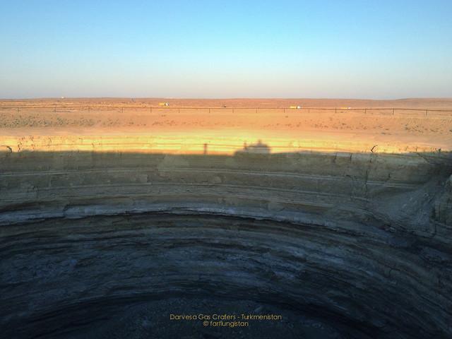 Land cruiser Shadow next to a Crater in the Karakum Desert