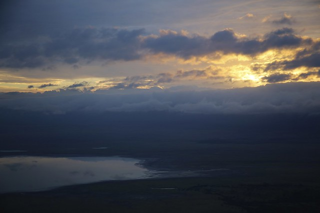 The sun sets over the Ngorongoro Crater