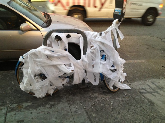 Toilet paper-covered bicycle