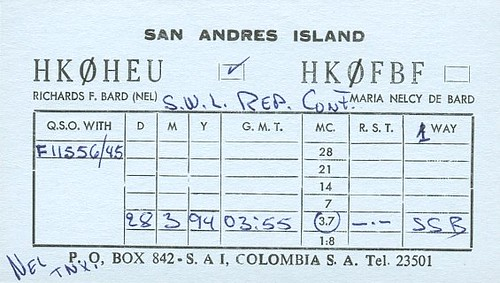 HK0HEU - F11556 - QSL - Iles San Andres - San Andres Island by Yannick BARBIER