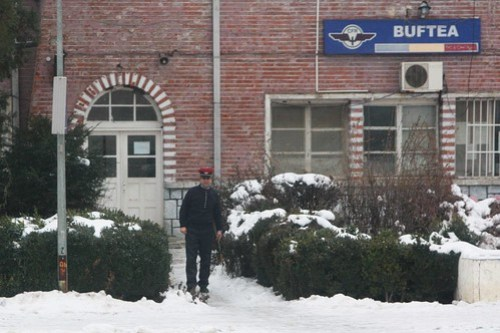 Stationmaster at Buftea out to see our train pass