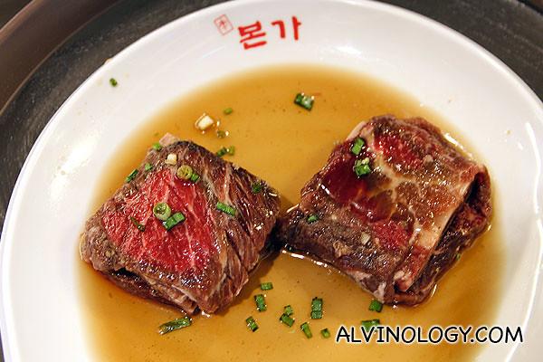 Yangnyum Galbi (beef ribs marinated in BORNGA's special sauce; $45)